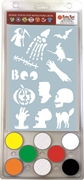 "6 Color Kit with 5.5x8.5"" stencil - Halloween designs face paint, girls, stencil, USA, cosmetic, Halloween, party, zoo, dinosaur"