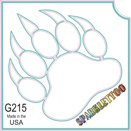 Bear Paw Glitter Tattoo Stencil #TAT-G215